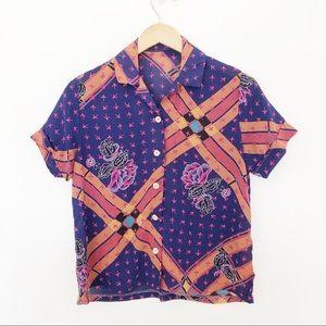 Vintage Floral Print Short Sleeve Light Shirt